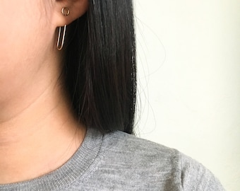 Paper Clip Circle Earrings Minimalist Unique Modern Gold, Rose Gold, Sterling Silver, hypoallergenic