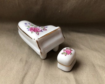 Vintage Miniature Porcelain Baby Grand Piano with Bench