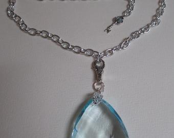 Aqua Crystal Prism Necklace Silver Tone Chain Adjustable Length