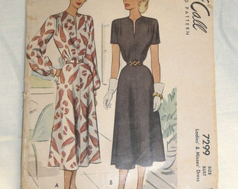 """Vintage 1940's McCall Dress Pattern 34""""B 26""""W 36""""H"""