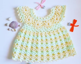 Cute Crochet Baby Dress, Newborn, Yellow and Mint Baby Girl Outfit, One of a Kind