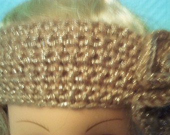 Headband wide headband in brilliant rose gold hand crocheted wool with a big flower on the side