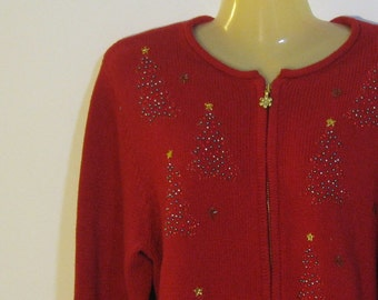 Tacky Red Christmas Sweater. Beaded and metallic embroidered trees, snowflakes. zipper front size M medium. 1990s vintage