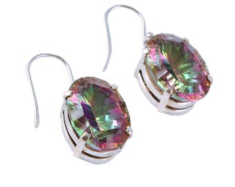 Mystic quartz 92.5 sterling silver earring
