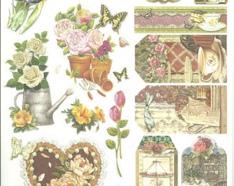Print size A4 card making, scrapbooking, new vintage floral stickers