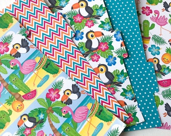 Summer Toucan Set of 5 Tabbed Planner Dividers Filofax Dividers A5, Personal, Pocket and A6 Sized 6 Ring Planners. Side or Top Tabs.