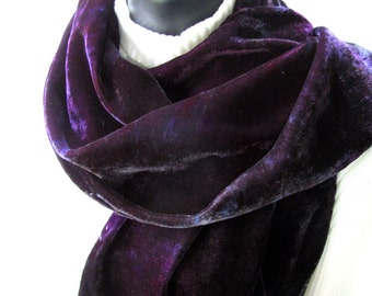 Hand Dyed Velvet Scarf - Deep Purple and Gray Winter accessories Luxury  beauty gift for Women  Gift for her girlfriend wife purple scarf