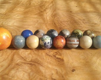 Solar System Marbles set. 3D Printed Sandstone. Polished. Sun, Planets, Pluto and Moons
