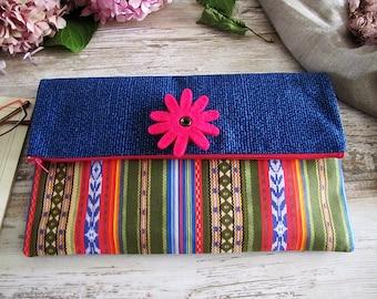Fast shipping/Boho ethnic blue night-daily clutch -handbag with detachable felt flower/Denim clutch/Bohemian clutches