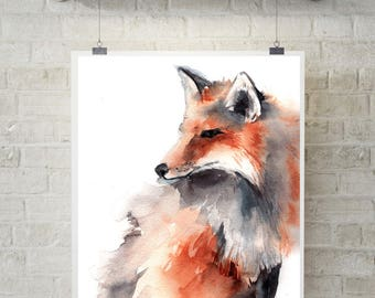 Fox art print, watercolor painting art print, fox painting, woodland animals, wall art