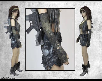 Post APOCALYPTIC GLOVES BLACK Long Gloves Mad MAx Gloves Fallout Gloves