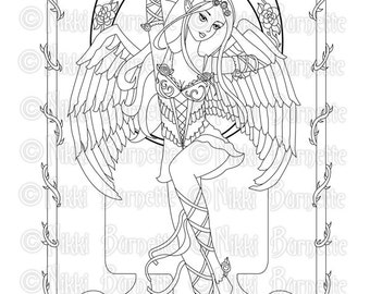 Digital Stamp - Printable Coloring Page - Angel Page - Fantasy Art - Fairy Stamp - 3 Versions - Rose - by Nikki Burnette - PERSONAL USE