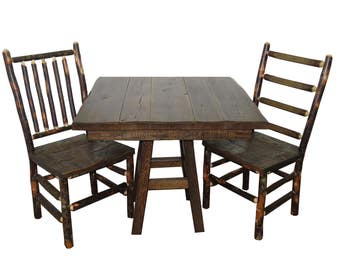 """Barnwood Table and Chairs 3 Piece Set with 36"""" Square Table and 2 Rustic Hickory & Barnwood Chairs"""