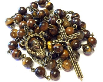 Vintage Style Tiger Eye Handmade Catholic Rosary with Bronze Finished Crucifix and Center