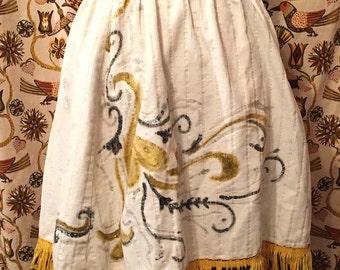 Vintage 1970s Western Square Dance Skirt Corduroy Country Western Flared Skirt Hand Painted Skirt Boho Hippie Costume Festival
