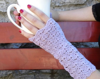 Fingerless mitts, lacy purple arm warmers, wrist warmers, wristers, texting gloves