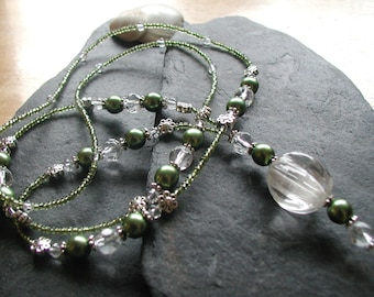 """Glass Beads """"Olive Grove"""" Womens ID Lanyard Necklace Badge Holder ID"""