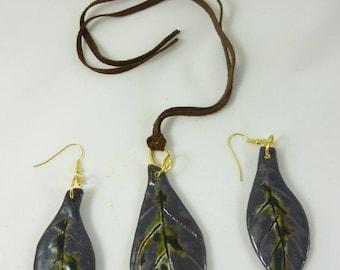 Ornament pendant, ceramic earrings