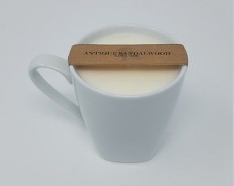 Antique Sandalwood Scented Soy Wax Candle in Classic White Coffee Cup