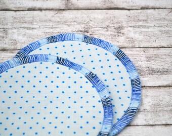 Nursing pads made of organic cotton, 1 pair, 2 pieces, 2-ply, dots blue, black, washable, environmentally friendly, breastfeeding, original equipment, baby