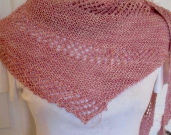 Women's hand knit shawl, delicate shawl, pashmina shawl, spring summer shawl, lightweight wrap, ladies stole, dressy shawl in pink