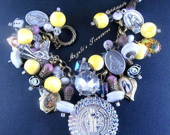Catholic St. Benedict, Religious Medals of Saints and Virgin Mary Handmade Charm Bracelet, Pulsera Catolica San Benito