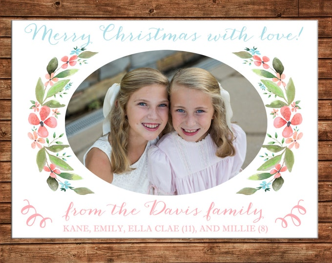 Christmas Holiday Photo Card Watercolor Floral Laurel - Can Personalize - Printable File or Printed Cards