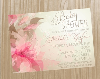 Floral Baby Girl Shower Invitation- Digital