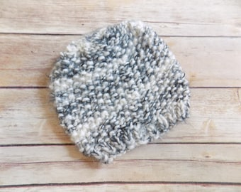 Knit Baby Hat, Black and White Baby Hat, Squishy Baby Beanie, Knit Beanie, 3-6 Months, Baby, Babies