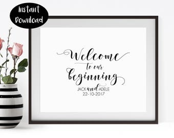 Welcome To Our Beginning Printable, Custom Wedding Sign Print, Digital Download