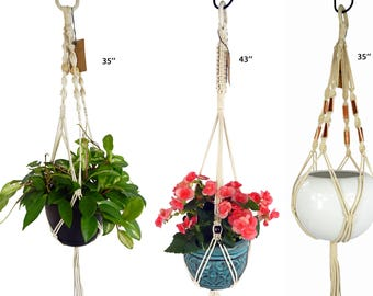 Macramé Plant Hanger/Set of 3/braided cotton cord/35'' 35'' 43 inch/indoor hanging planter/outdoor plant hangers/zs030506/Saratoga Style