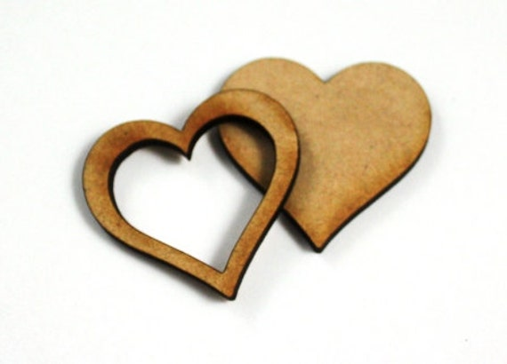 1 Large Craft Wood Bezel Heart Frames, 250 mm Wide, lasercut wood