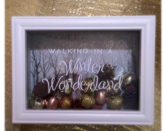 Walking in a Winter Wonderland Decal - Winter Shadow Box - Holiday Vinyl Sticker - Decal Only!
