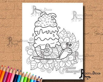 INSTANT DOWNLOAD Sundae Escargot (Snail Ice Cream) Coloring Print, doodle art, printable