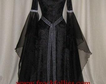 "Halloween Gown,Renaissance Gown,Medieval Dress,Gothic Gown,Hand Fasting Dress,Pagan Dress,Pre Raphaelite Gown,Robe Elfique,""Gwyneth"""