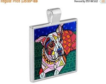 Pitbull Pit Bull Dog Folk Art Jewelry - Pendant Metal  Gift Art Heather Galler Gift-  Dog Lovers Abstract Modern Vegan Gifts