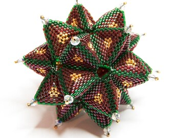 Beading Pattern - Tutorial - Christmas Ornament - Secret Star - Peyote Stitch - PDF download