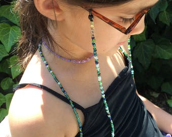 Greens Beaded Eyeglass Holder, Eyeglass Chain, Handmade To Order, Eyeglass Lanyard, Sunglass Chain, Reading Glasses, Gifts for Her