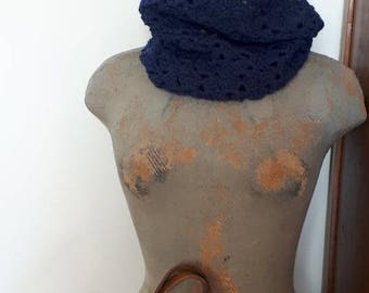 Blue crocheted Snood