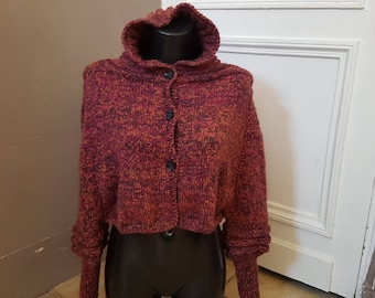 Jacket-cape with hood 34/36, hand knitted.