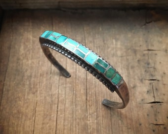 Channel Inlay Row Bracelet Old Pawn Turquoise Cuff Bracelet for Women Native American