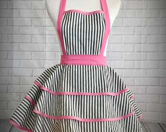 Striped retro pinup apron with pink ties // bridal shower gift // hostess gift