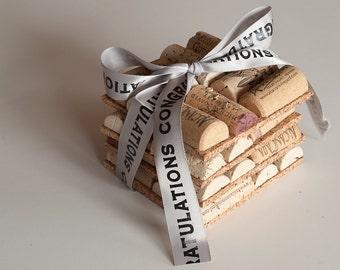 Wine Gift, Wine Cork Crafts, Set of 2 - Wedding Favor, Engagement Gift, Bridesmaids,  Decor, Wedding Gift Idea