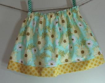 Girls Skirt Twirl Skirt Daisy Aqua Yellow Meadow Sweet Polka Dot Ready to Ship!