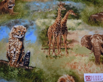African Wildlife from Nature Studies by David Stribbling for Robert Kaufman.  Quilt or Craft Fabric,  Fabric by the Yard.