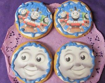 Thomas a Train face  sugar cookies