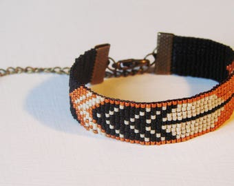 "Bracelet ""Feather"" black and copper - miyuki glass beads"