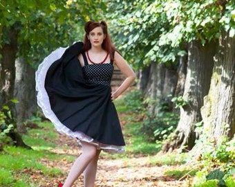 Fun Vintage style Party Dress with full circle skirt, invisible zip and shirred sides for perfect fit.