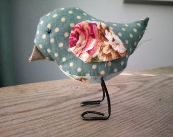 Fabric Bird Bluebird Textile Gift Birdie Wire Sculpture Bird Lover Mother Grandma