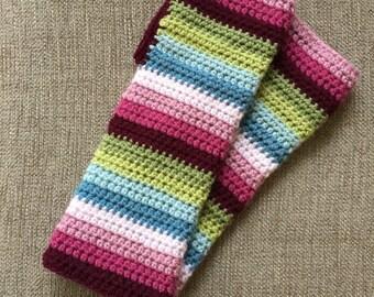 Handmade Crocheted Striped Wrist Warmers